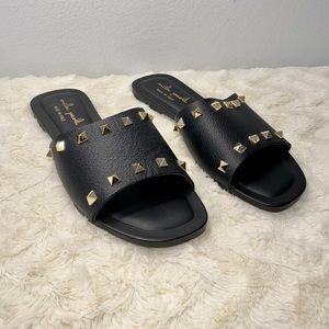 Mila Paoli Black Leather Studded Slides